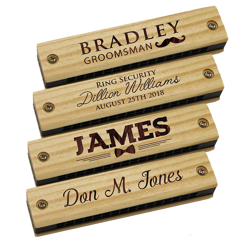 Junior groomsmen gifts Custom Personalized Wood Harmonica
