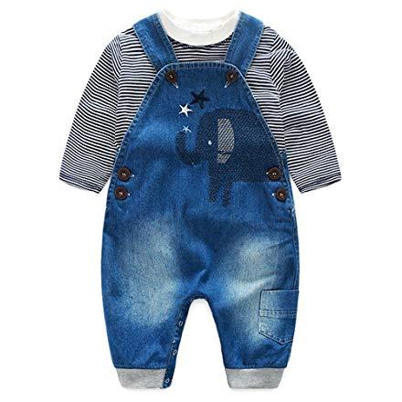Elephant Jeans Romper Set with Stripe T-Shirt