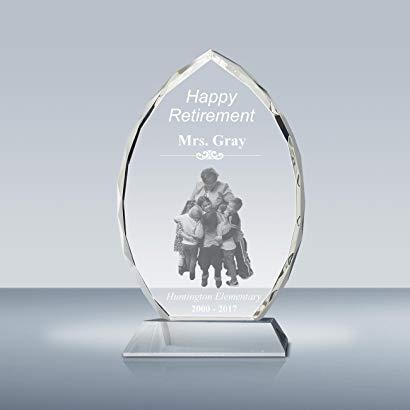 Teacher retirement gifts Crystal Oval Award & Plaque for Teacher Appreciation