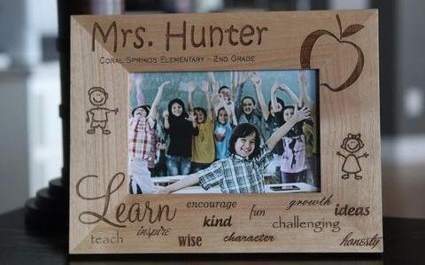 Teacher retirement gifts Personalized Wood Picture Frames Custom Engraved with Teacher's Name