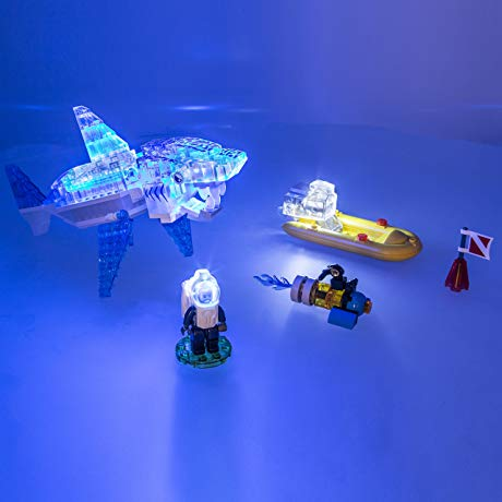 shark themed gifts for boys and girls LED-lighted construction playset
