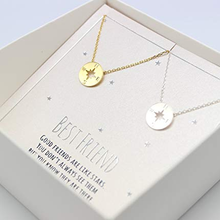 Compass friendship necklace for 2