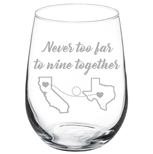 Engraved Best Friend Wine Glass Never Too Far To Wine Together Personalized Long Distance Friendship Gift
