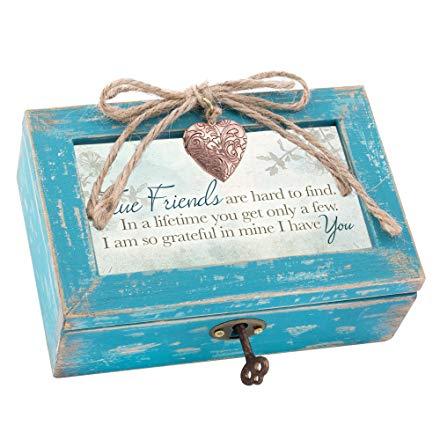 True Friends Grateful Teal Wood Locket Jewelry Music Box