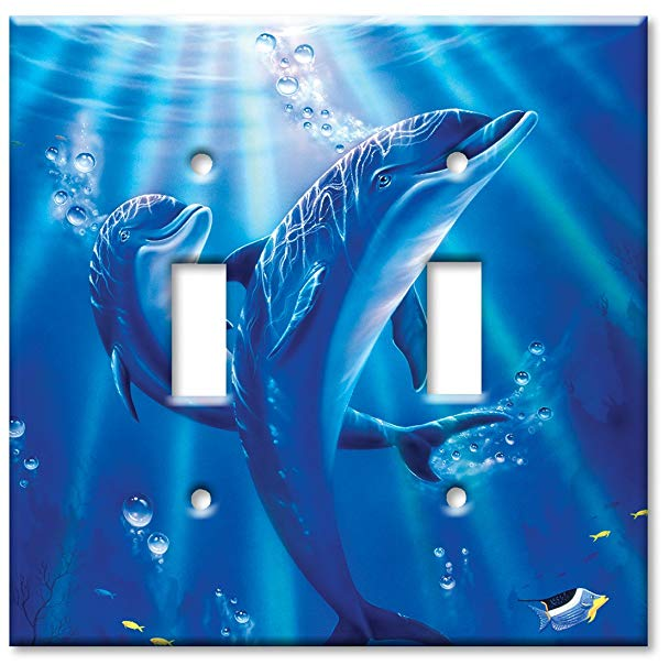 dolphin gift ideas Double Gang Toggle Wall Plate - Sunlit Dolphins