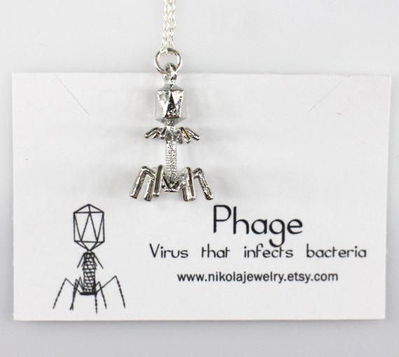 Biology themed gift: Bacteriophage Necklace
