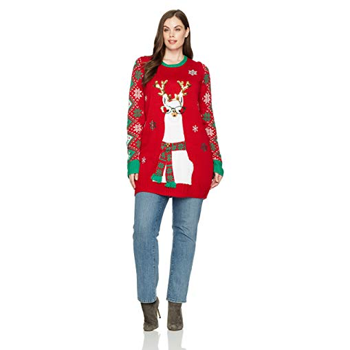Llama gifts Women's Llama Holiday Ugly Christmas Sweater