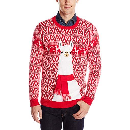 Llama gifts Men's Festive Llama Ugly Christmas Sweater
