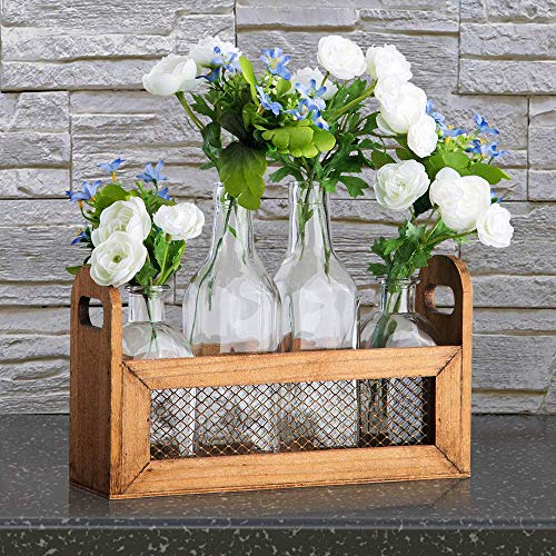 Welcome to the new neighborhood gift 24. Flower Vases in Wooden Rack