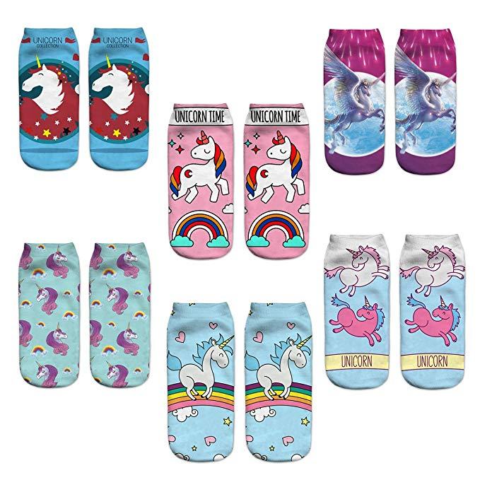 Cheap Unicorn Gifts Funny Crazy Colorful Unicorns Emoji Ankle Socks