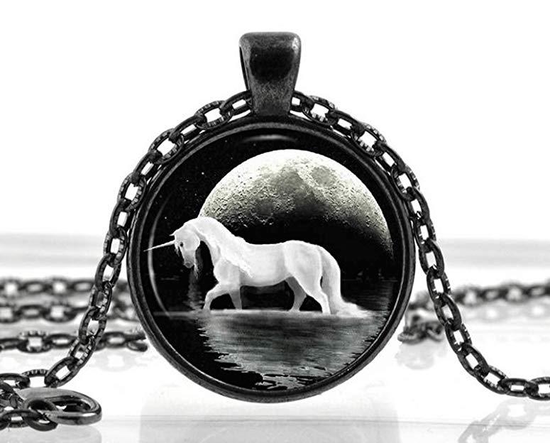 Cheap Unicorn Gifts Black Unicorn Necklace Pendant