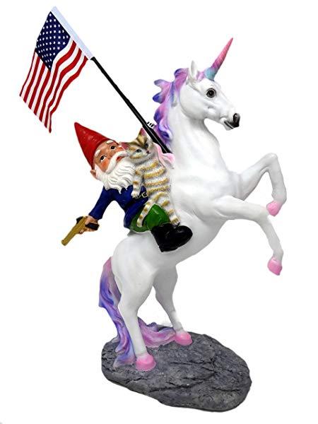 Funny Unicorn Gifts Funny Guy Mugs Garden Gnome Statue - The Ultimate Trio: Cat, Gnome & Unicorn Statue