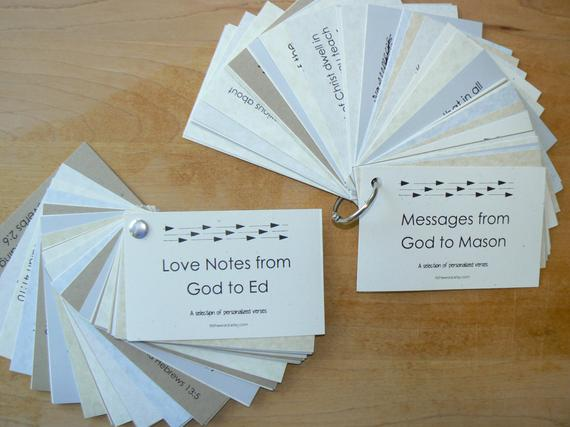 Love Notes or Messages from God Personalized Scripture Verse Cards