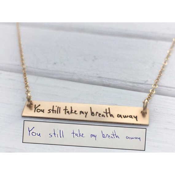One Year Anniversary Gifts for Girlfriend Custom 14k Gold Bar Necklace