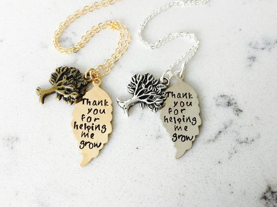 Thanks for helping me grow -- Appreciation, thank you bronze or silver necklace for Sunday school teacher