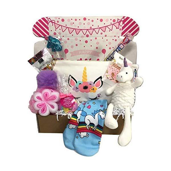 Unicorn Birthday Gifts Stuffed Unicorn Birthday Gift Basket Box for Girls Cosmetic Bag Treats and More