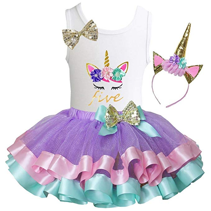 Unicorn Birthday Gifts Girls Lavender Pastel Satin Trimmed Tutu & Birthday Unicorn Tee
