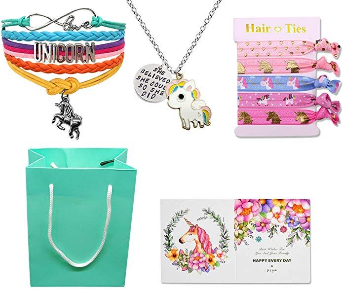 Unicorn Birthday Gifts Goodie Bag, Rainbow Bracelet/Hair Ties/Unicorn Necklace/Gift Card/Gift Bag