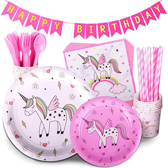 Unicorn Birthday Gifts Pink Children's Rainbow Party Supply Set with Bonus Happy Birthday Banner Serves