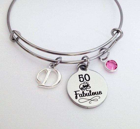 """mom's 50th birthday perfect gift """"50 and Fabulous"""" Bracelet"""