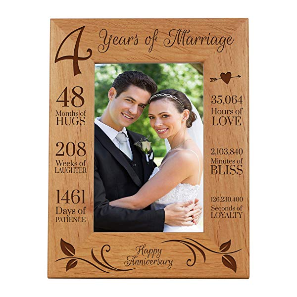 4 years anniversary gift ideas for couples Picture Frame 4 Year of Marriage