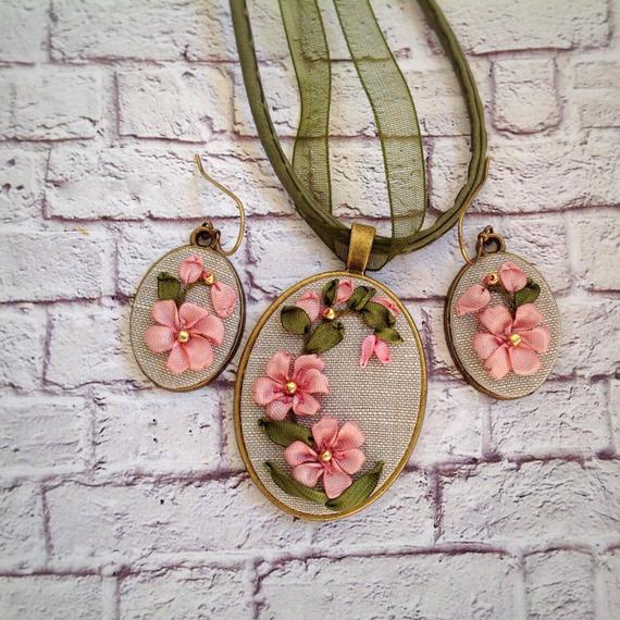4th Anniversary Gifts for Her Linen anniversary jewelry set