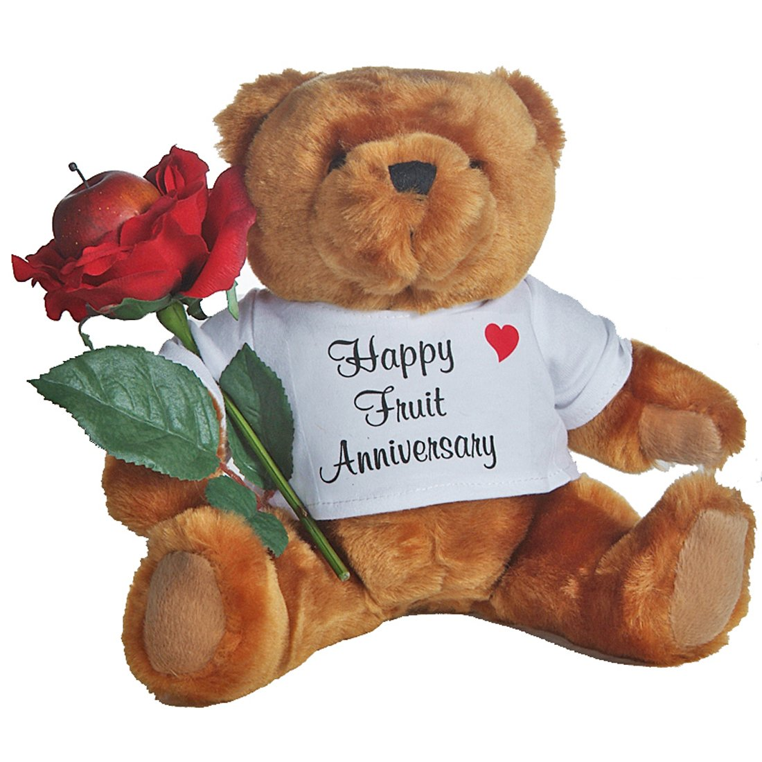 4th Anniversary Gifts for Her Teddy Bear with Fruit and Rose