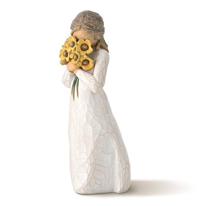 Sunflowers sentimental gift: Figurine Girl with Sunflowers