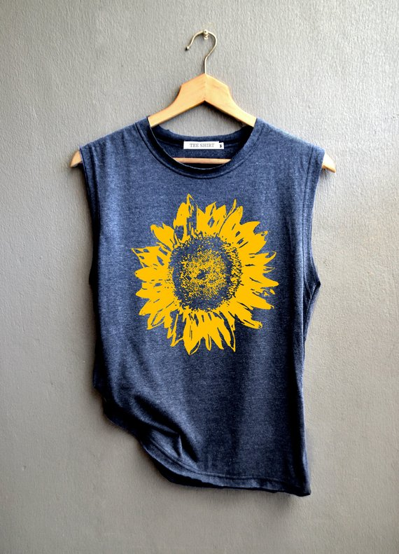 Unique sunflower gifts: Flower muscle tee