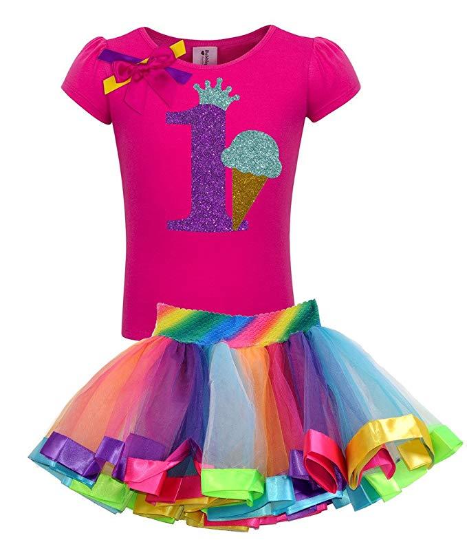 Girls' 1st Birthday Ice Cream Cone Shirt Rainbow Tutu Outfit