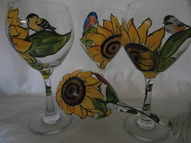 Sunflower items gifts: Hand painted sunflower bird wine glass