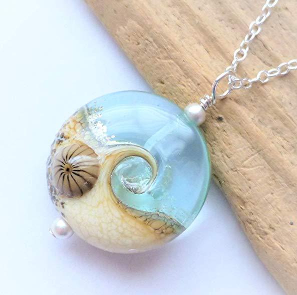 Ocean gifts Handmade Ocean Wave Glass Pendant Necklace