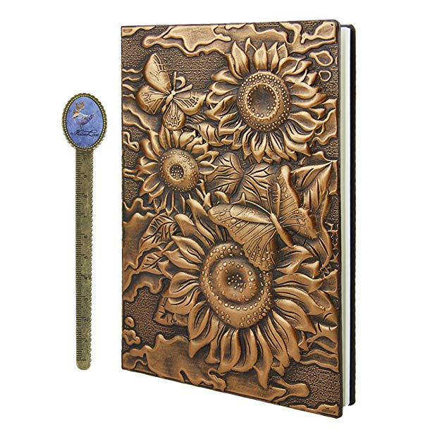 Unique sunflower gifts: Personal Sunflower Notebook With Ribbon Bookmark