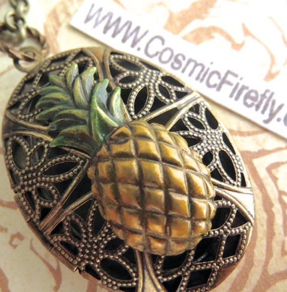 Pineapple gifts Tropical Steampunk Oval Brass Locket Woman's Necklace