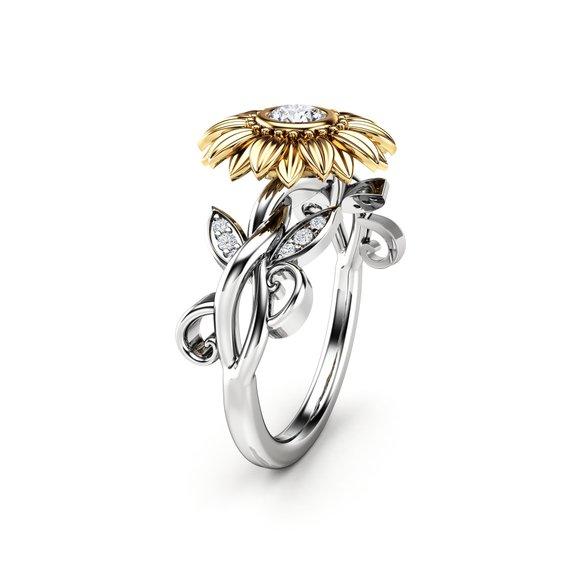 Unique sunflower gift: 14K Gold Diamond Sunflower Ring