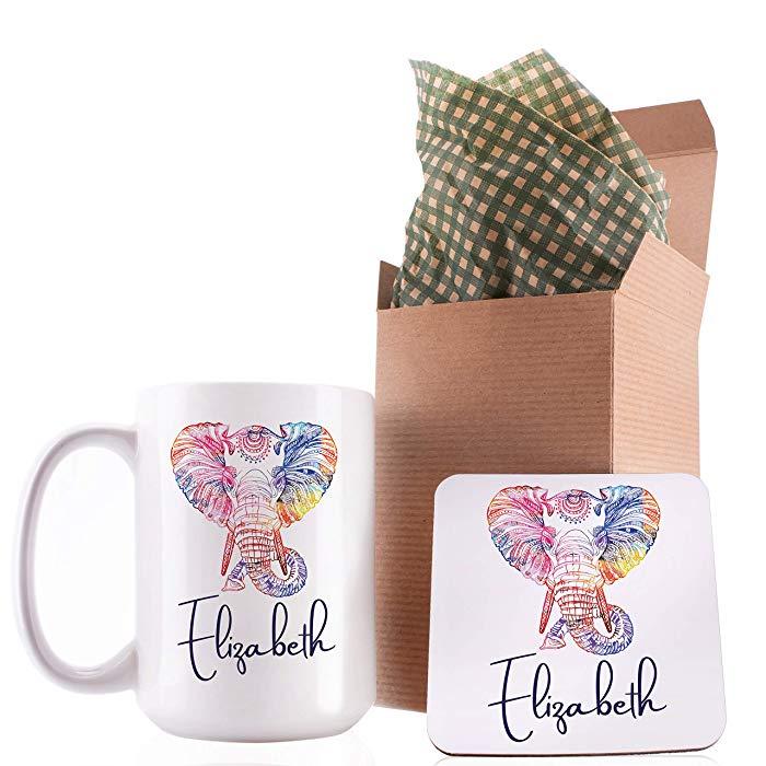 Personalized Elephant Mug and Coaster Set