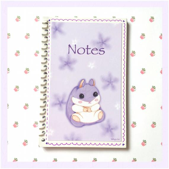 Adorable hamster gift ideas: small purple hamster themed notebook