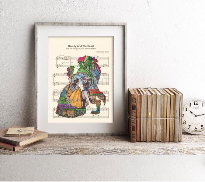 Beauty and the Beast gifts for her Music Art Print