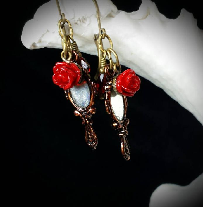Beauty and the Beast gifts Enchanted Rose Earrings