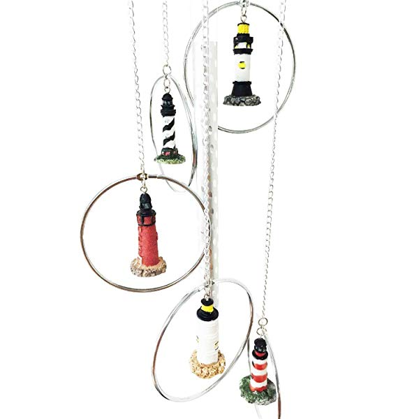 Five World Famous Light Houses In Metal Rings Wind Chime