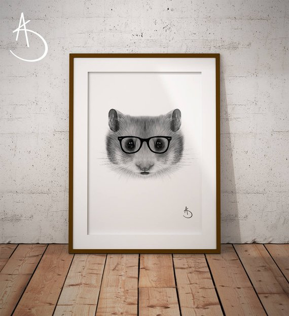 Unique gift Hipster Hamster Print