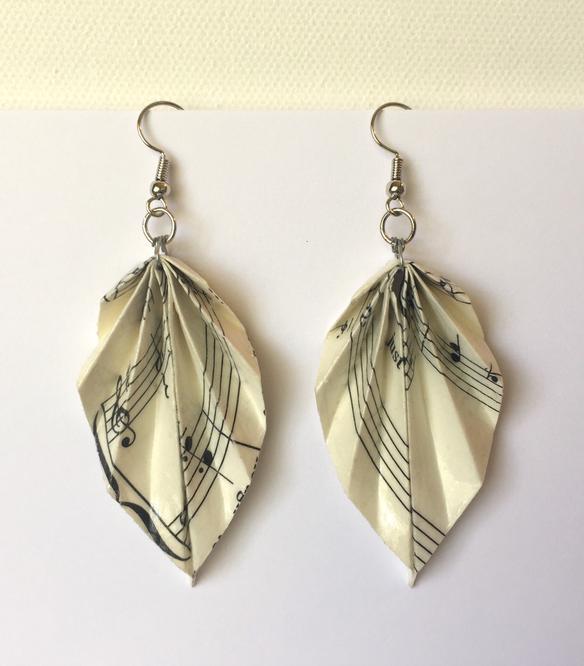 #20 Gift for Songwriters: Origami Sheet Music Earrings