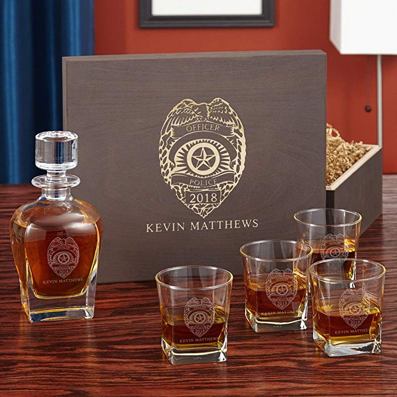 Police retirement gifts: Police Badge Custom Whiskey Glass and Decanter Set