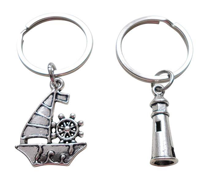 Lighthouse gifts: Sailboat & Lighthouse Keychain Set