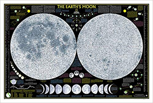 gift for someone who loves the moon - National Geographic: Earth's Moon Wall Map
