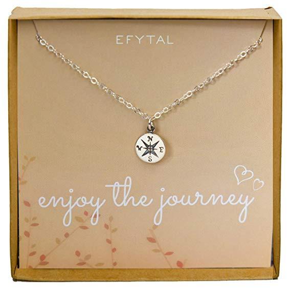 8th grade graduation gift idea Sterling Silver Compass Necklace