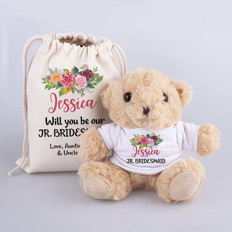 15. Junior Bridesmaid Gift Idea: Teddy Bear with Personalized Shirt & Bag