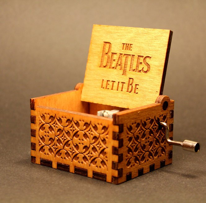 """#19 Beatles gift Engraved """"Let It Be"""" Wooden Music Box"""