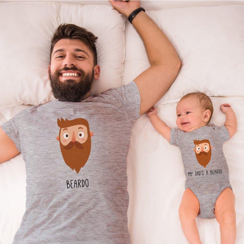 Beardo Dad and Baby Matching Tees cool new dad gift