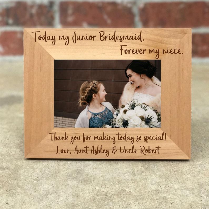 20. Junior Bridesmaid Gift Idea: Personalized picture frame